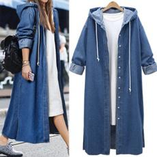 casual coat, hooded, Long Coat, thincoat
