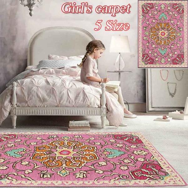 Carpet Pink Bedroom Large Mat Kids Princess Gift Retro Flower Area Cute Pad Soft Table Rug Anti Slip Doormat