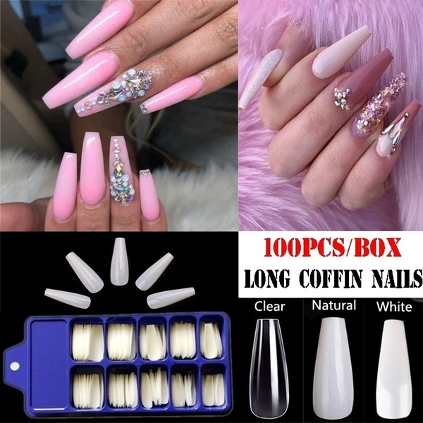 100pcs All Sizes Artificial Nail Tips Long Natural All Cover Long Coffin Nails Manicure Nail Extension Accessories