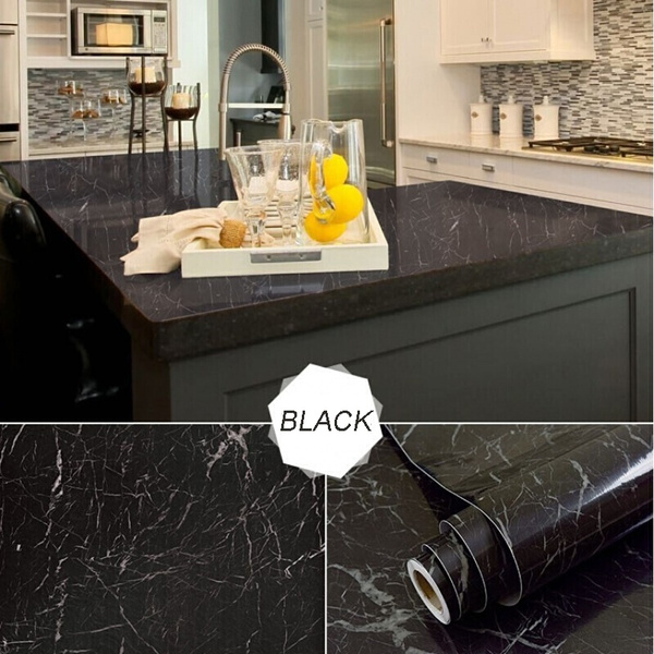 40cmx1m Roll Black Marble Effect Pvc Self Adhesive Waterproof