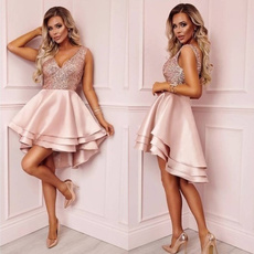 sleeveless, dressesforwomen, pleated dress, Deep V-neck Dress