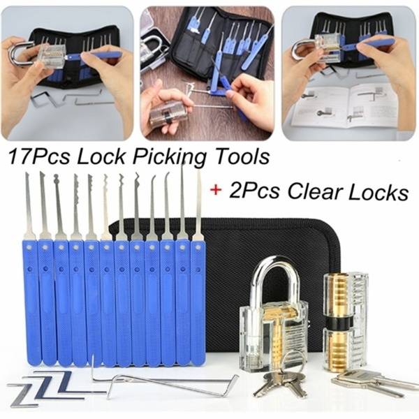 2 Clear Practice Training Locks with 17-Piece Lock Picking Tools for Lockpicking Lock Pick Set Extractor Tool for Beginner and Pro Locksmiths