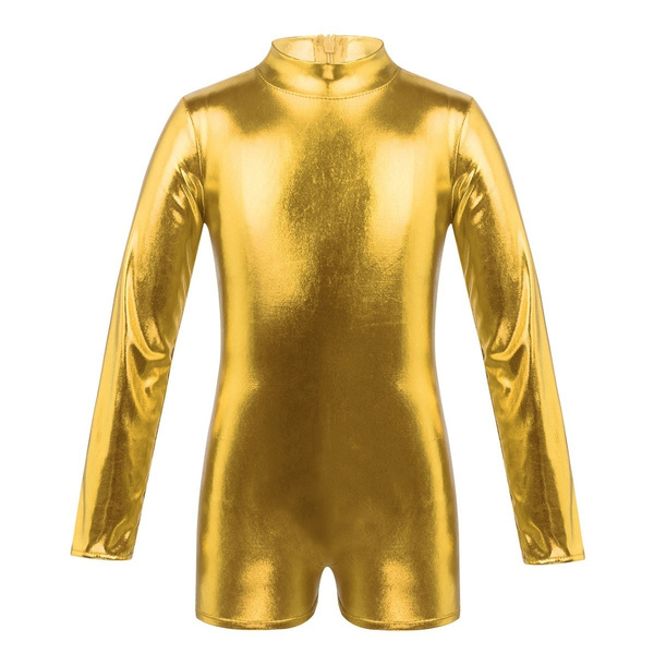 Girls Gymnastics Long Sleeve Leotard Ballet Dance Zipper Back Jumpsuit Dancewear