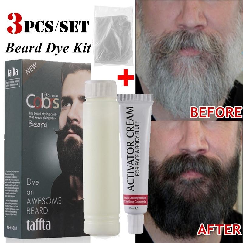 Details about Men Mustache & Beard Dye Cream Black Hair Fast Color Tint Gel  w/ Gloves Kits