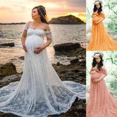 pregnantwoman, Lace, long dress, Dress