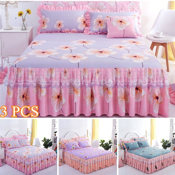 Romantic Flower Bed Skirt Non Slip Double Layer Luxury Rufflled Bedspread  Princess Bedspread Lace Silk Bed Sheet Bedspreads Bed Skirt U0026Pillowcases