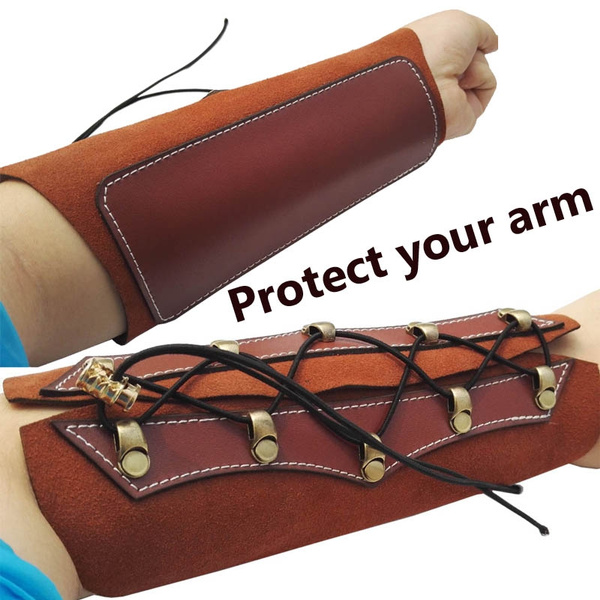 Archery Arm Guard Protector Leather With Strap Barcer For Hunting Recurve Bow