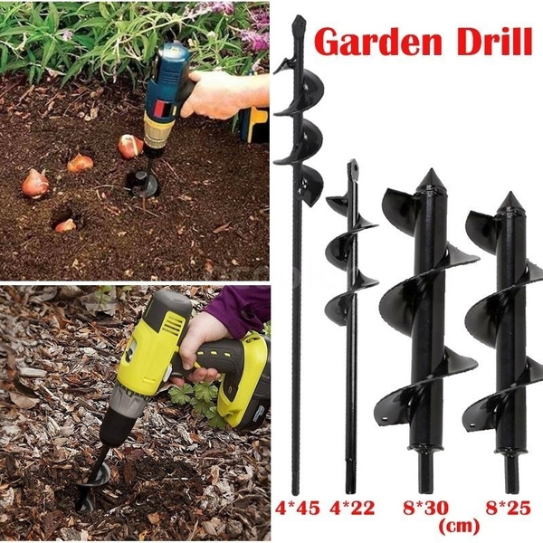 Garden Earth Auger Spiral Drill Bit Planting Hole Digger Ground Fence Post  Drilling Tool