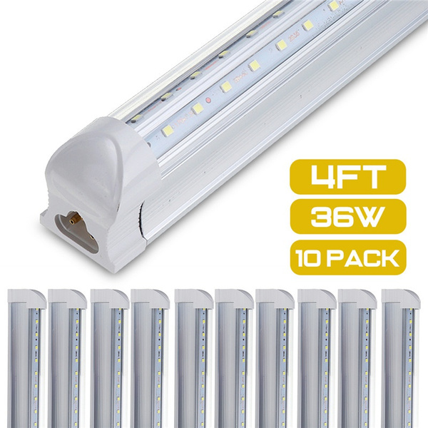 10pcs T8 Led Light Tube 4ft 120cm 36w 4foot Dual Row V Shaped Led Shop Light Ceiling And Under Cabinet Light 6500k White Ac85 265v Energy