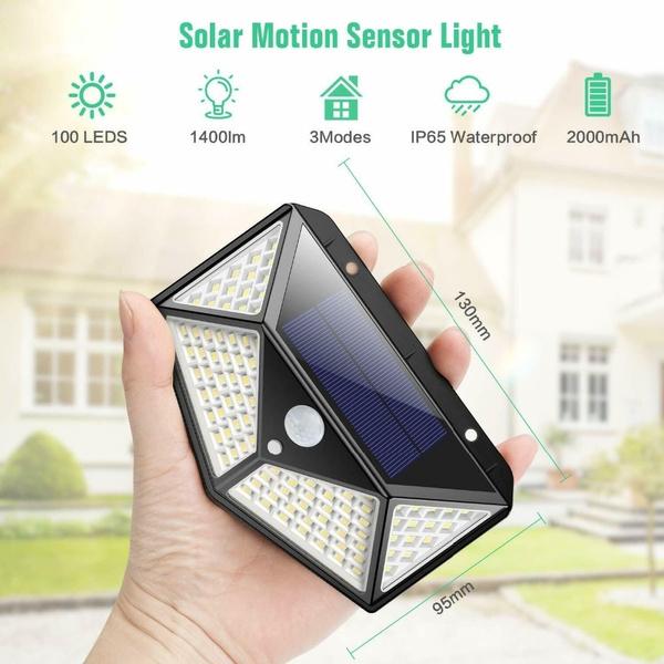 Wish | 1pc/2pcs Solar Light Outdoor 100 LED Light, Feob Upgrade Super Bright Motion Sensor Light Strip 270° Wide Angle Wireless Waterproof Safety Wall Light