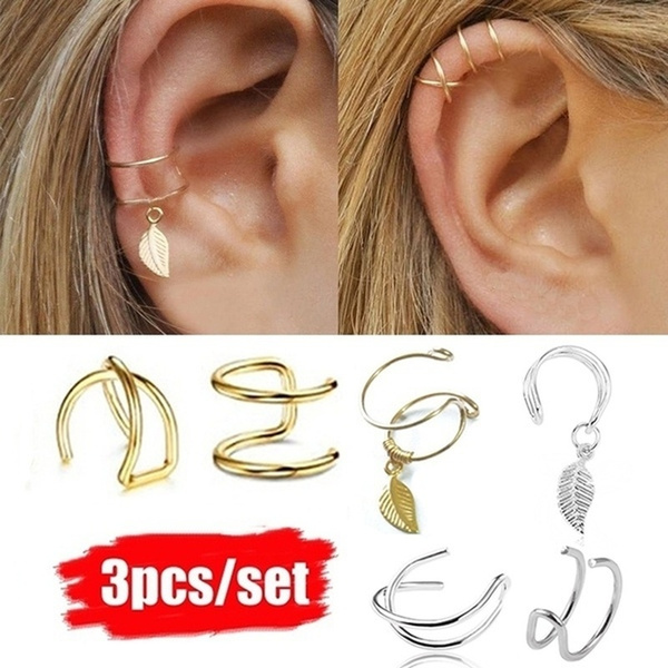 3pcs Set Ear Jewelry Fake Earrings Ear Cuff Set Fake Ear Piercing