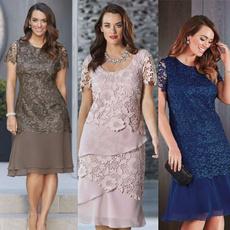 Plus Size, Lace, Sleeve, elegant dress women
