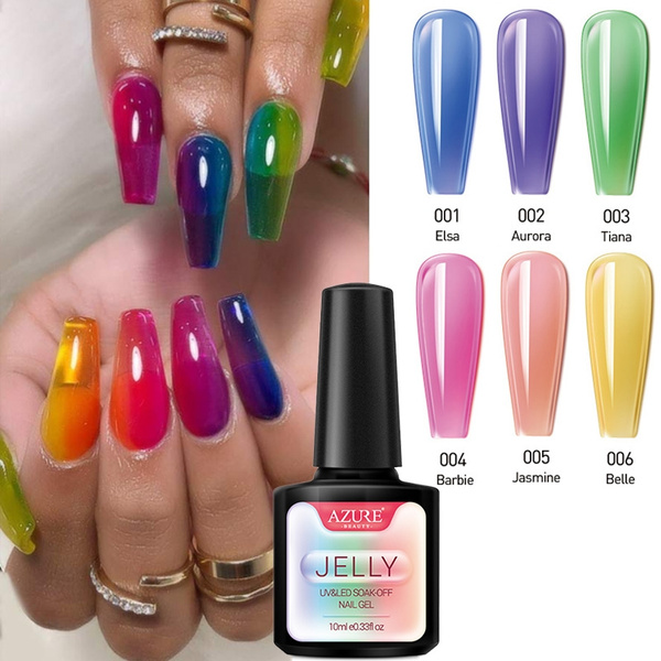 Jelly Nails Jellies Glass Candy Nails Summer Attribute Translucent Neon  Color UV Nail Gel Soak off Gel Polish