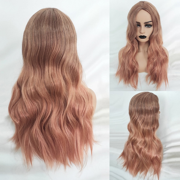 Long Curly Women Wigs Rose Gold Pink Brown Ombre Hairstyle Wig Hair Wigs Rose Net Fashion Heat Resistant Synthetic Hair Wig Ladies Cosplay Party Wigs