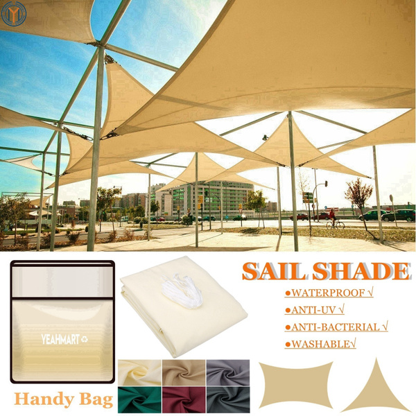 Sun Shade Sail Garden Patio Swimming Pool Awning Canopy Sunscreen UV  Outdoor Living with Handy Bag Packaged (Rectangle/Triangle, 4 Size, 5  Colors)