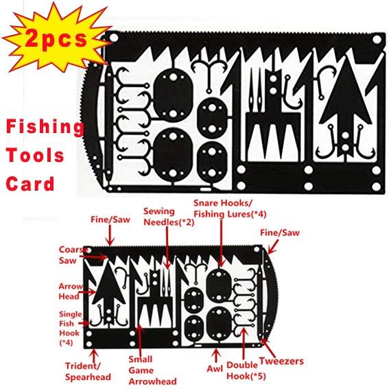 22 In 1 Fishing Tackle Hook Card EDC Tool Multi-functional Pocket Survival Tool
