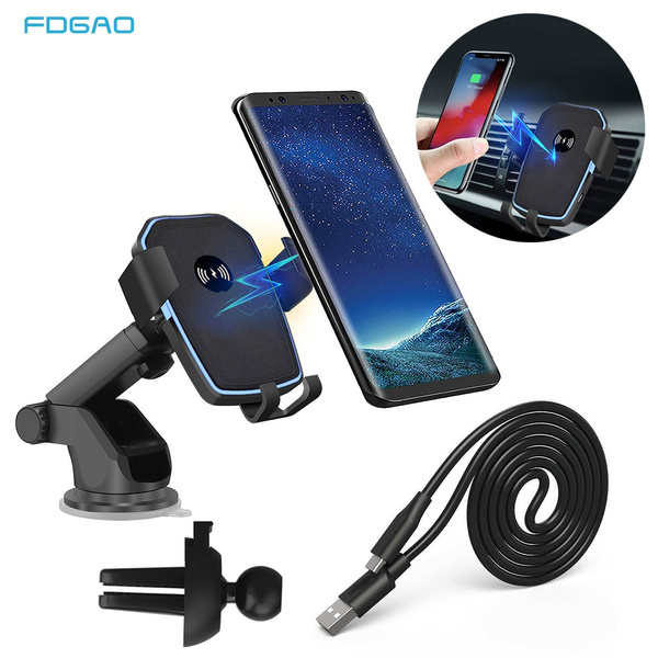 Fdgao Qi Wireless Charger Car Phone Holder 10 W Fast Charging Air Vent Car Wireless Charging Stand For Iphone X Xs Max Xr 8plus 8 Samsung S10 S9 S8 S7 S6 Note 9 8 Huawei P30 Pro by Wish