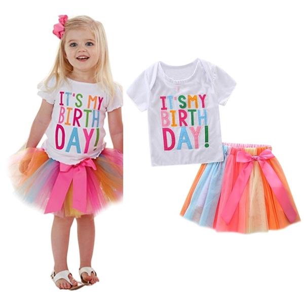 Toddler Baby Girls Birthday Outfits T-Shirt Rainbow Mesh Tutu Skirt Dress Baby Girl Birthday Gifts 1-6T