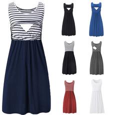 Maternity Dresses, Summer, stripedprinted, Necks