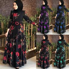 roupas femininas, Floral, Sleeve, long dress