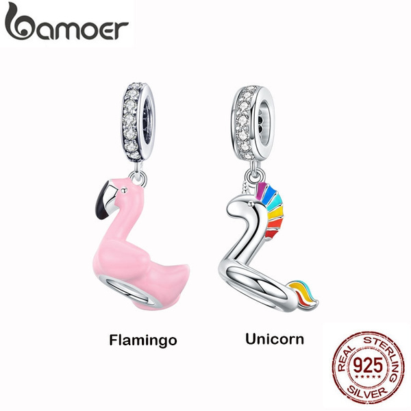 3 rhinestone flamingo Charms Pendants 73sp