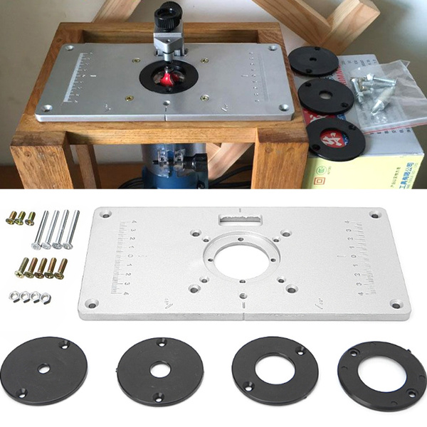 Aluminum Router Table Insert Plate W 4 Rings For Woodworking Benches Router Table Plate