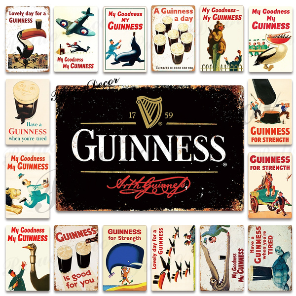 Metal Tin Sign my guinness my goodness Pub Bar Home Vintage Retro Poster Cafe