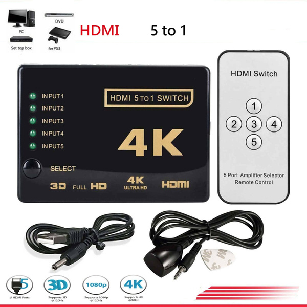 5-Port HDMI Switcher Switch Selector Splitter Hub iR Remote For HDTV 1080p 4K 3D