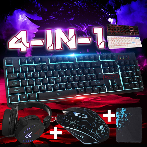 super tanie najniższa cena ograniczona guantity Backlit Gaming Wired Keyboard + Gaming Headset + Mouse + Mouse Pad Set  Colorful LED Game Keyboard Mouse