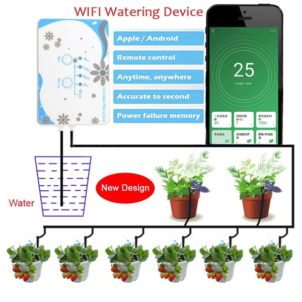 Diy Micro Automatic Drip Irrigation Kit Self Watering System Water Timer Usb Charing For Indoor Outdoor Vacation Wifi Mobile Phone Remote Control