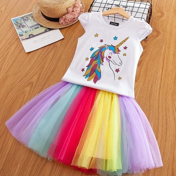 Unicorn Rainbow Girl Summer Dress Cartoon Print Dresses Kids Casual Clothes Wear