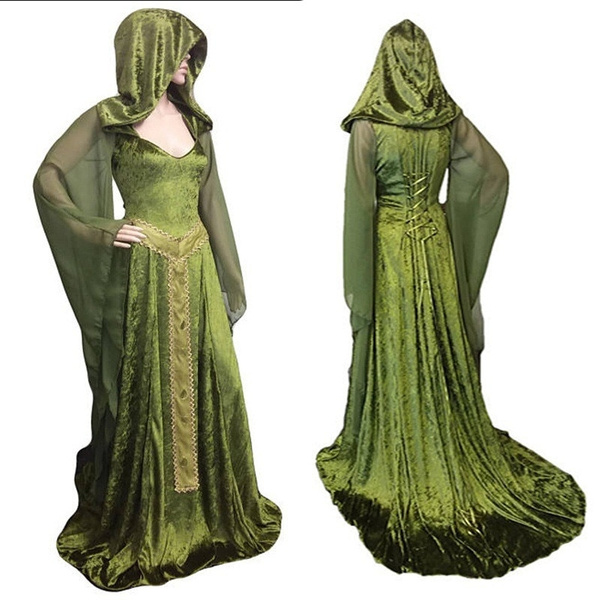 Plus Size Masquerade Gown Medieval Maxi Hooded Dress Vintage Costume Flare  Sleeves Velvet Party Dress Vestidos