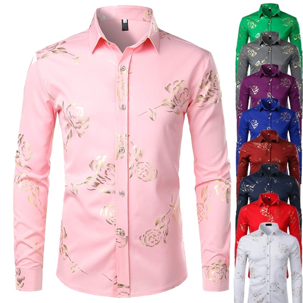 Jofemuho Mens Formal Shirts Casual Long Sleeve Button Down Printed Dress Shirt Top
