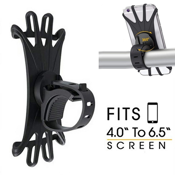 Silicone Motorcycle Bicycle Black Holder Mount Handlebar For GPS Cell Phone 4-6/'