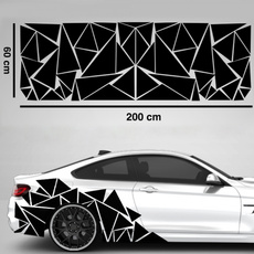 Car Sticker, Decor, Triangles, matte