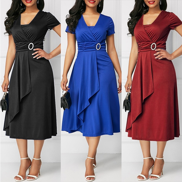 Women's Fashion Plus Size Asymmetric Hem V-neck Mini Dress Party ...