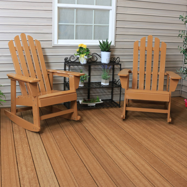 Outstanding Sunnydaze Classic Wooden Adirondack Rocking Chair With Cedar Finish Set Of 2 250 Pound Capacity Pdpeps Interior Chair Design Pdpepsorg