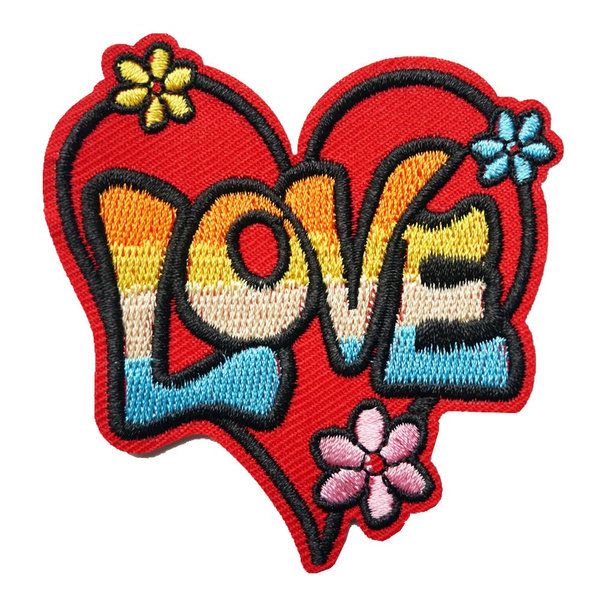 Heart to heart Embroidery sew Iron on patch Hat Applique clothesbadge Bag Fabric