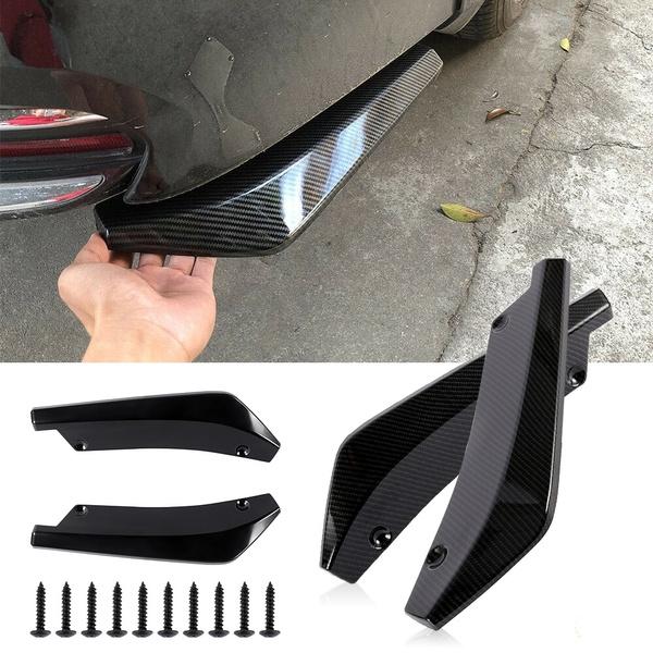 Car Carbon Fiber Look Rear Bumper Lip Diffuser Splitter Canard Protector Spoiler