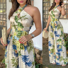 Summer, Loose, Floral print, Halter