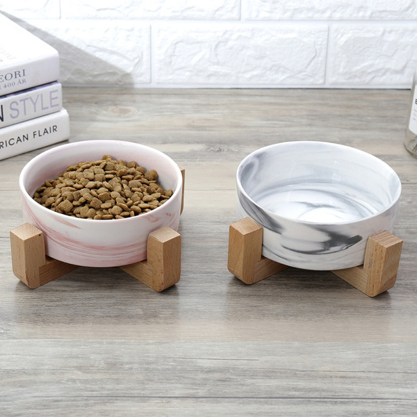 Marbling Ceramic Bowl With Wooden Rack For Pet Food Water Drinking Feeder by Wish