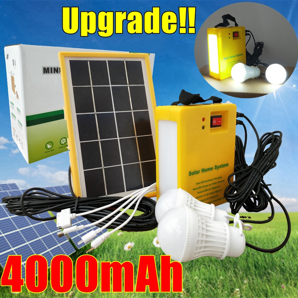 LED Bulbs Home Outdoor Camping Solar Panel Lighting Charging Generator System 2