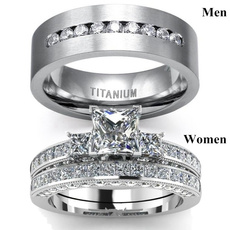 Sterling, Steel, DIAMOND, Engagement Ring