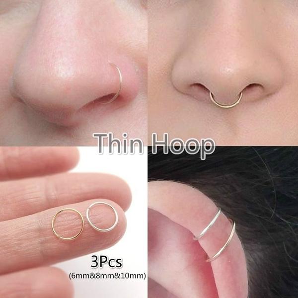 3pcs Set Nose Hoop Nose Hoop Helix Piercing Septum Ring Rose Gold