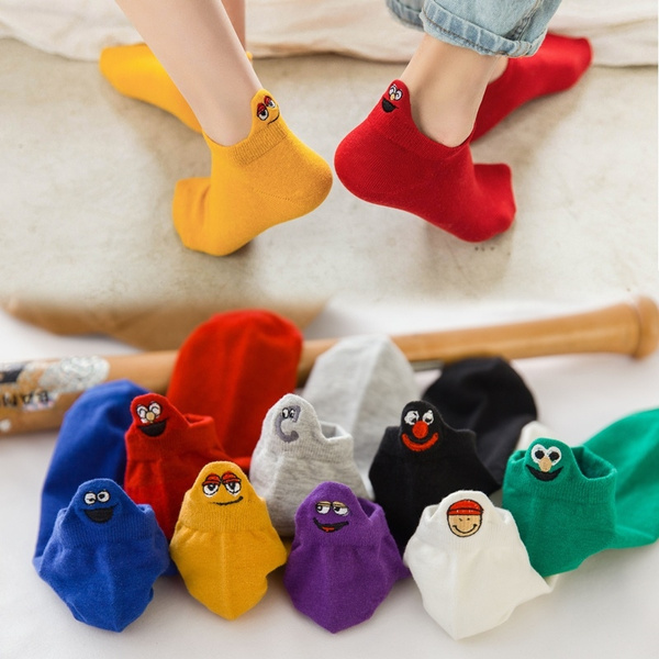 New Cartoon Embroidered Expression Women Cotton Socks Fashion Ankle Funny Socks