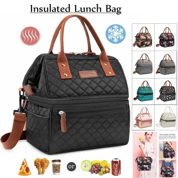 Lokass New Fashion Insulated Lunch Bag Women Tote Shoulder Dual Compartment Large Capacity For Men