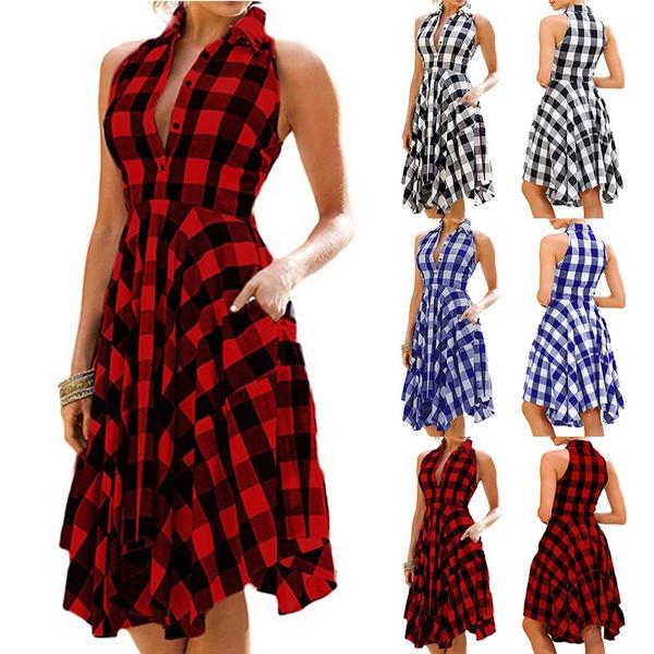 Summer, Fashion, Plaid Dress, Vintage