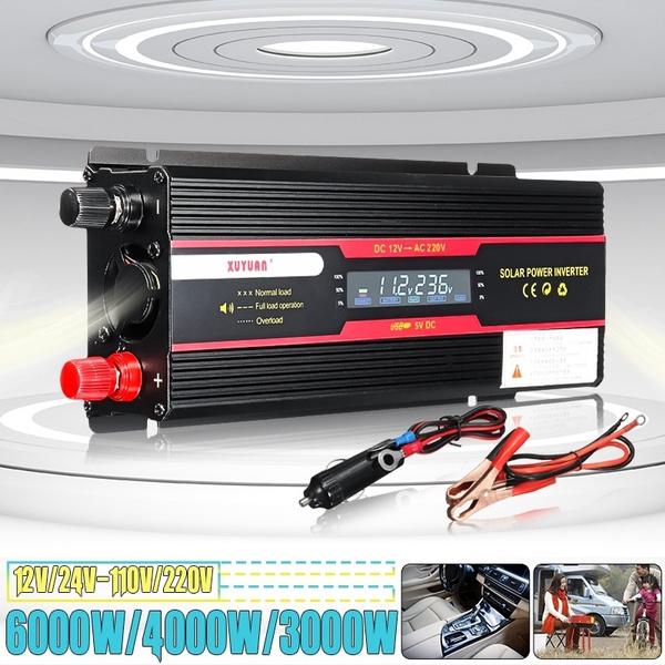 NEW 3000W Car Solar Power Inverter DC12V//24V To AC 220V Sine Wave Converter