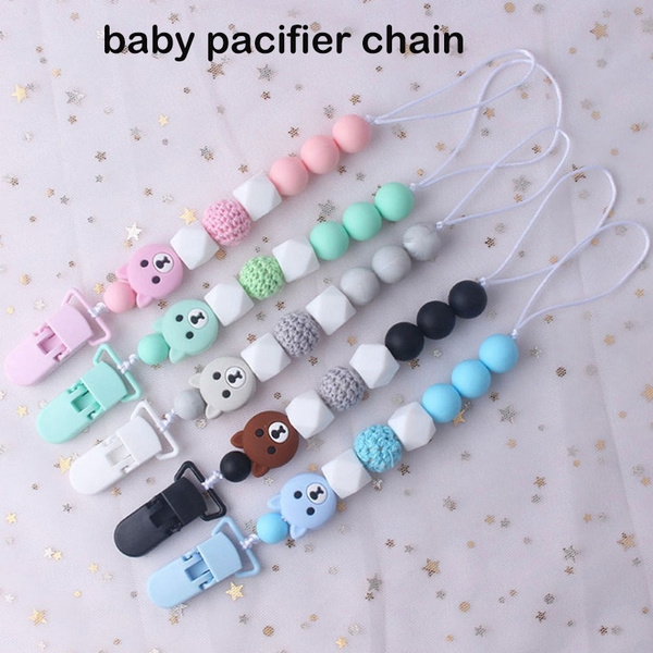 Baby Infant Toddler Dummy Pacifier Wooden Soother Nipple Clip Chain Holder Strap