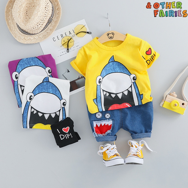 Boys Cartoon Shark Bikini Swimwear Bathing Suit EDTO Toddler Kids Baby Girls Set